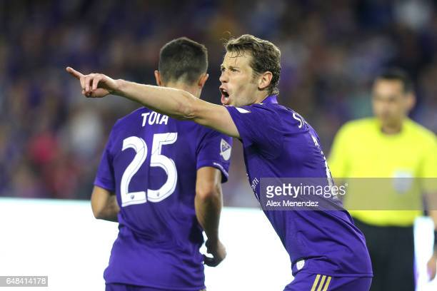 Jonathan Spector of Orlando City SC screams to a teammate during a MLS soccer match between New York City FC and Orlando City SC at the Orlando City...