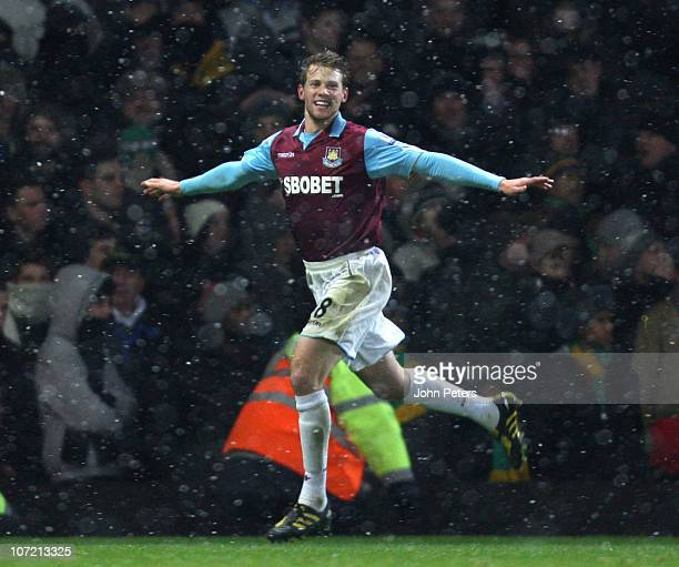 Jonathan Spector of West Ham United celebrates scoring their first goal during the Carling Cup quarterfinal match between West Ham United and...