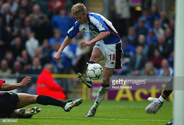 Jonathan Stead of Blackburn Rovers scores their winning goal during the FA Barclaycard Premiership match between Blackburn Rovers and Manchester...