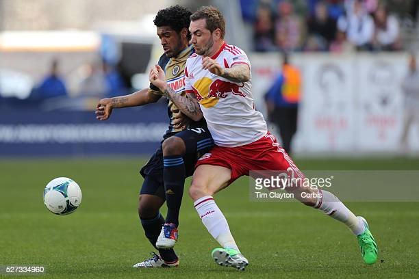 Jonathan Steele New York Red Bulls is challenged by Sheanon Williams Philadelphia Union during the New York Red Bulls V Philadelphia Union Major...