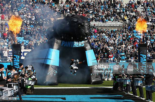 Jonathan Stewart of the Carolina Panthers is introduced before their game against the Tampa Bay Buccaneers at Bank of America Stadium on December 1,...