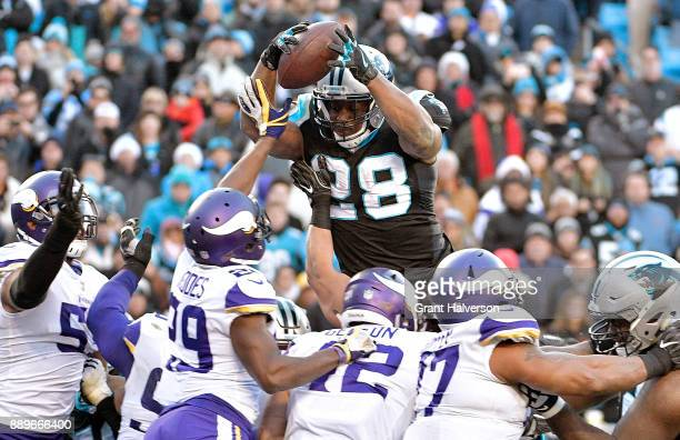 Jonathan Stewart of the Carolina Panthers leaps into the end zone to score the gamewinning touchdown against the Minnesota Vikings during their game...