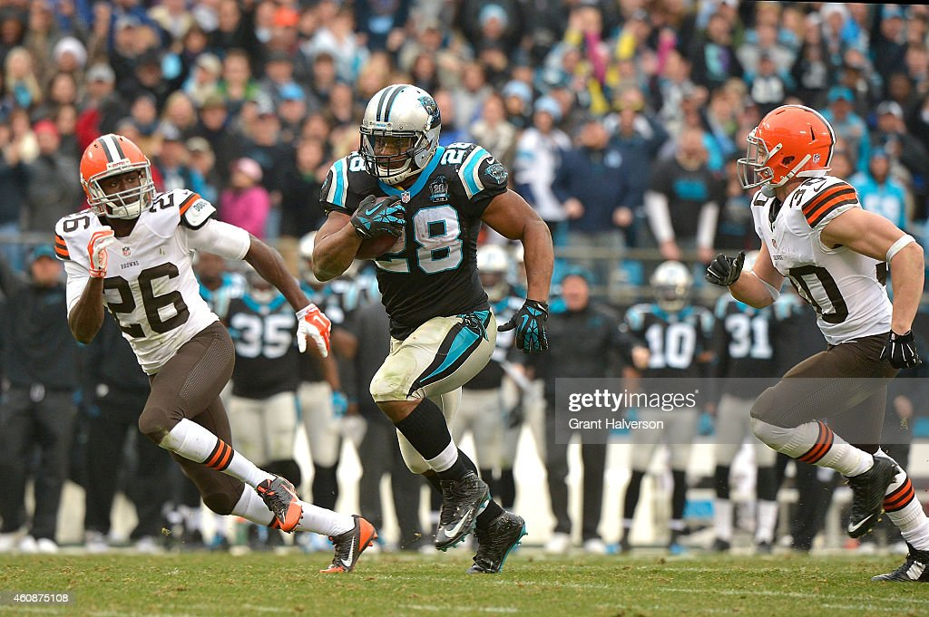 Jonathan Stewart #28 of the Carolina Panthers runs against the Cleveland Browns during their game at Bank of America Stadium on December 21, 2014 in Charlotte, North Carolina. The Panthers won 17-13.