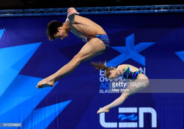 Jonathan Suckow and Michelle Heimberg of Switzerland compete in the Mixed Synchronised 3m Springboard final during the diving on Day seven of the...
