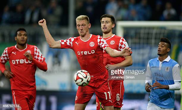 Jonathan Tah Axel Bellinghausen and Dustin Bomheuer of Duesseldorf and Martin Angha of 1860 Muenchen in action during the Second Bundesliga match...