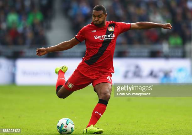 Jonathan Tah of Bayer 04 Leverkusen in action during the Bundesliga match between Borussia Moenchengladbach and Bayer 04 Leverkusen at BorussiaPark...