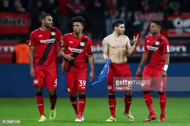 Jonathan Tah of Bayer Leverkusen Benjamin Henrichs Kevin Volland and Leon Bailey react after the Bundesliga match between Bayer 04 Leverkusen and 1...