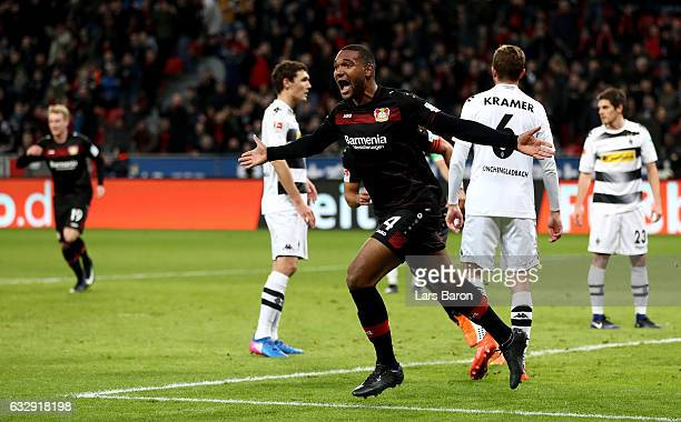 Jonathan Tah of Bayer Leverkusen celebrates after scoring his teams first goal during the Bundesliga match between Bayer 04 Leverkusen and Borussia...