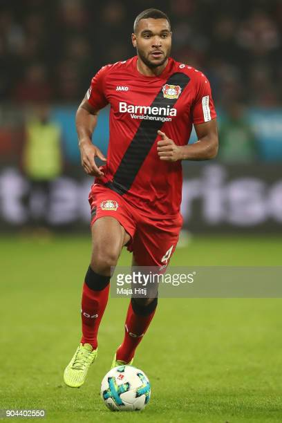 Jonathan Tah of Bayer Leverkusen controls the ball during the Bundesliga match between Bayer 04 Leverkusen and FC Bayern Muenchen at BayArena on...