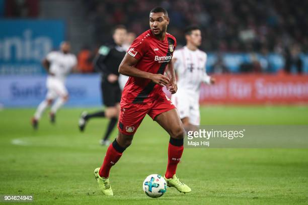 LEVERKUSEN GERMANY Jonathan Tah of Bayer Leverkusen controls the ball during the Bundesliga match between Bayer 04 Leverkusen and FC Bayern Muenchen...