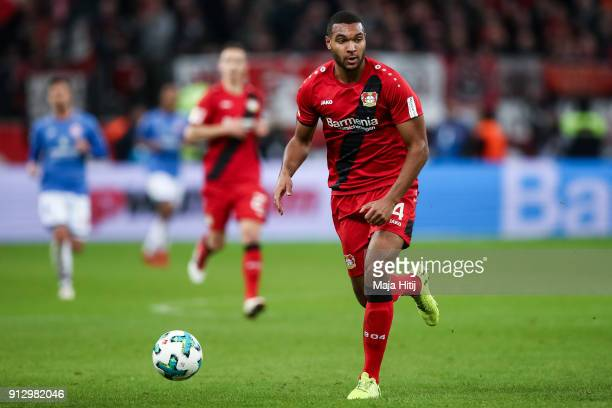 Jonathan Tah of Bayer Leverkusen controls the ball during the Bundesliga match between Bayer 04 Leverkusen and 1 FSV Mainz 05 at BayArena on January...