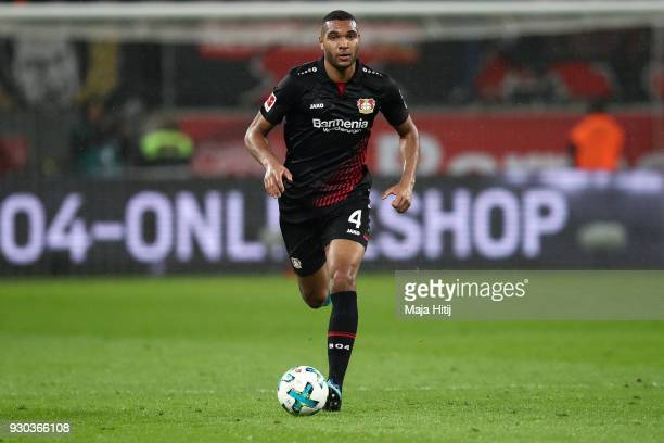 Jonathan Tah of Bayer Leverkusen controls the ball during the Bundesliga match between Bayer 04 Leverkusen and Borussia Moenchengladbach at BayArena...