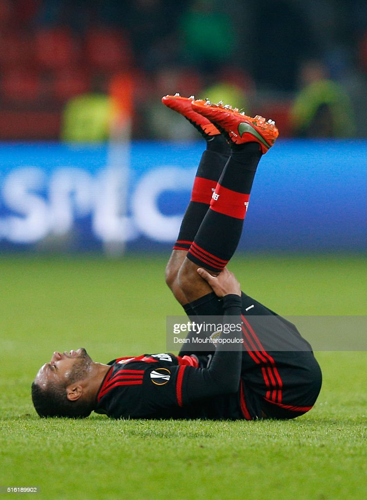 Jonathan Tah of Bayer Leverkusen looks dejected as they lose 2-0 on aggregate after the UEFA Europa League round of 16, second leg match between Bayer Leverkusen and Villarreal CF at Bay Arena on March 17, 2016 in Leverkusen, Germany.
