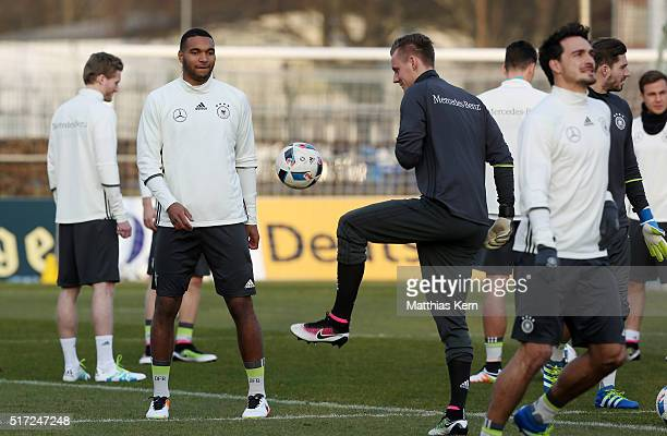 Jonathan Tah of Germany and Marc Andre Ter Stegen warm up during a Germany training session ahead of the international friendly match against England...