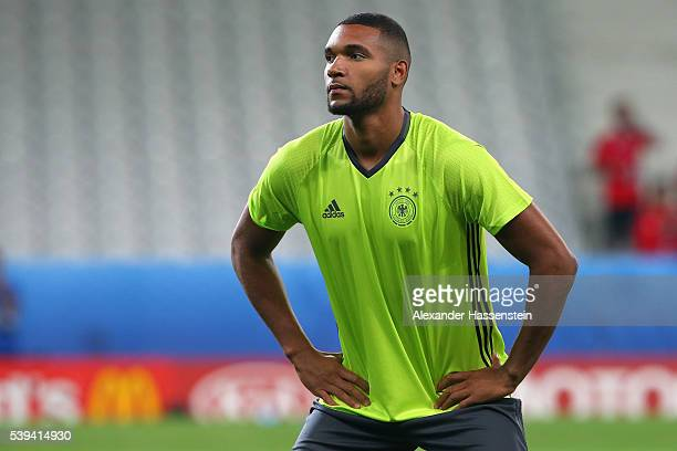 Jonathan Tah of Germany looks on during a Germany training session at Stade PierreMauray ahead of their opening UEFA EURO 2016 match against Ukraine...