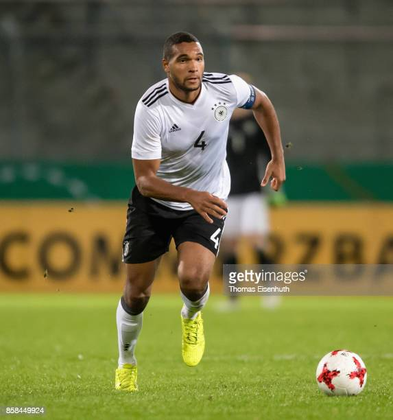 Jonathan Tah of Germany plays the ball during the UEFA Under21 Euro 2019 Qualifier match between U21 of Germany and U21 of Azerbaijan at Stadion der...