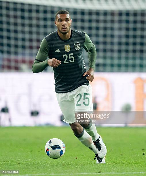 Jonathan Tah of Germany runs with the ball during the International Friendly match between Germany and England at Olympiastadion on March 26 2016 in...
