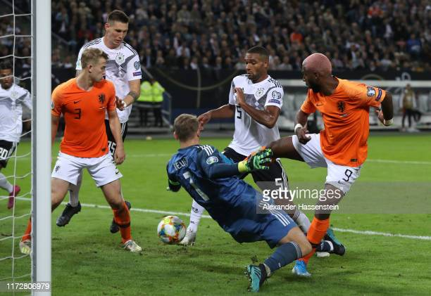 Jonathan Tah of Germany scores an own goal The Netherlands second goal during the UEFA Euro 2020 qualifier match between Germany and Netherlands at...