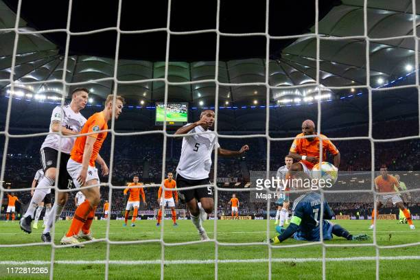 Jonathan Tah of Germany scores an own goal the Netherlands second gaol during the UEFA Euro 2020 qualifier match between Germany and Netherlands at...