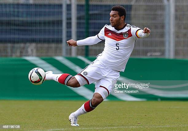 Jonathan Tah of Germany shoots the ball during the UEFA Under19 Elite Round match between Germany and Czech Republic on March 31 2015 in Walldorf...