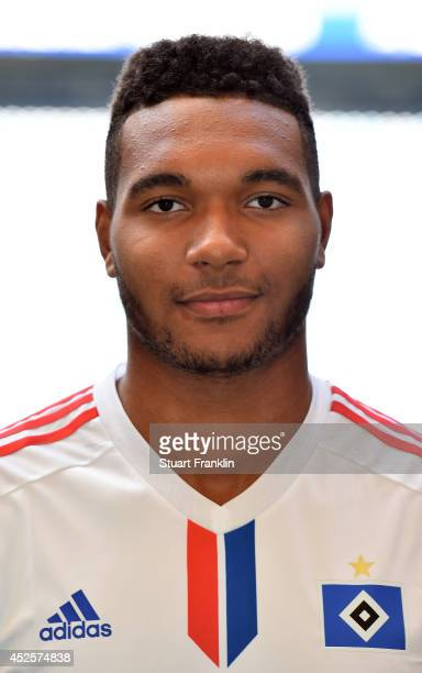 Jonathan Tah of Hamburger SV poses for a picture during the Hamburger SV team presentation at Imtech Arena on July 22 2014 in Hamburg Germany