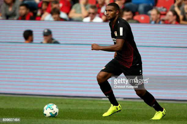 Jonathan Tah of Hoffenheim runs with the ball during the Bundesliga match between Bayer 04 Leverkusen and TSG 1899 Hoffenheim at BayArena on August...