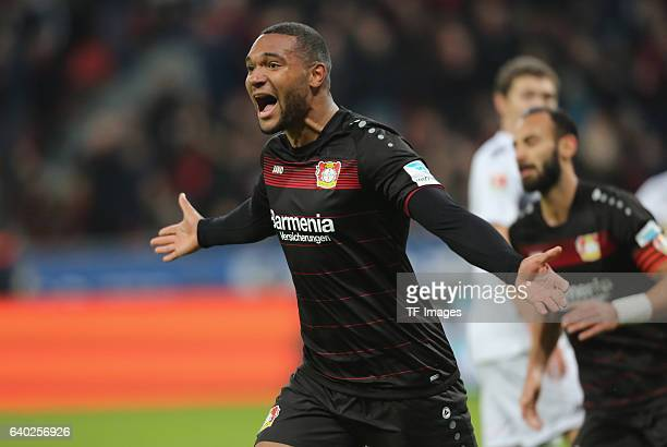 Jonathan Tah of Leverkusen celebrates his goal during the Bundesliga match between Bayer 04 Leverkusen and Borussia Moenchengladbach at BayArena on...