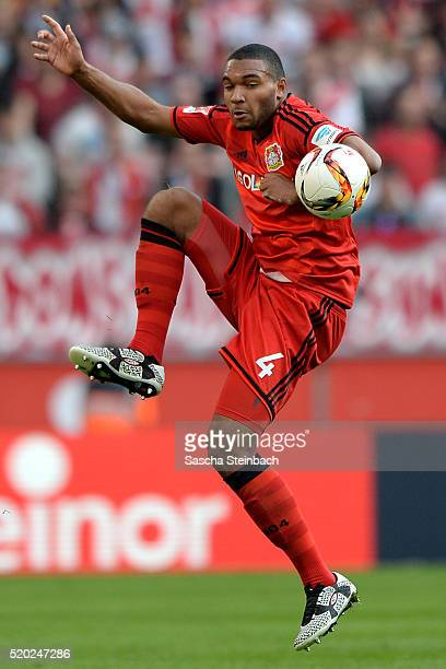 Jonathan Tah of Leverkusen controls the ball during the Bundesliga match between 1 FC Koeln and Bayer Leverkusen at RheinEnergieStadion on April 10...