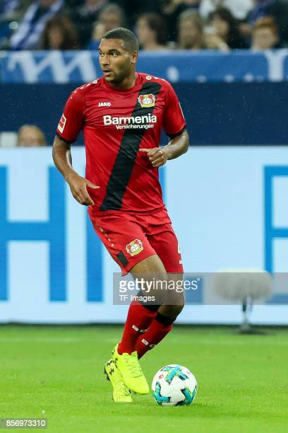 Jonathan Tah of Leverkusen controls the ball during the Bundesliga match between FC Schalke 04 and Bayer 04 Leverkusen at VeltinsArena on September...