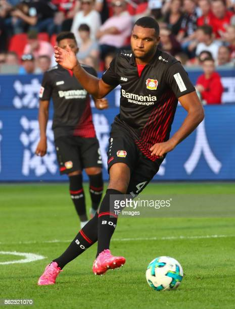 Jonathan Tah of Leverkusen controls the ball during the Bundesliga match between Bayer 04 Leverkusen and VfL Wolfsburg at BayArena on October 15 2017...