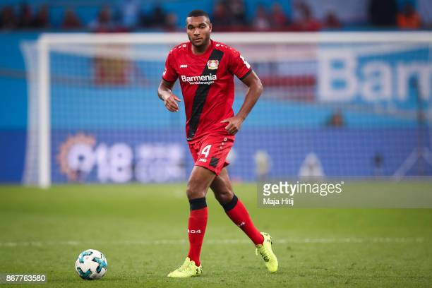 Jonathan Tah of Leverkusen controls the ball during the Bundesliga match between Bayer 04 Leverkusen and 1 FC Koeln at BayArena on October 28 2017 in...