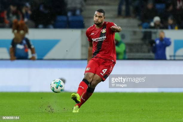 Jonathan Tah of Leverkusen controls the ball during the Bundesliga match between TSG 1899 Hoffenheim and Bayer 04 Leverkusen at RheinNeckarArena on...