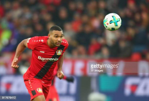 Jonathan Tah of Leverkusen controls the ball during the Bundesliga match between Bayer 04 Leverkusen and Hertha BSC at BayArena on February 10 2018...