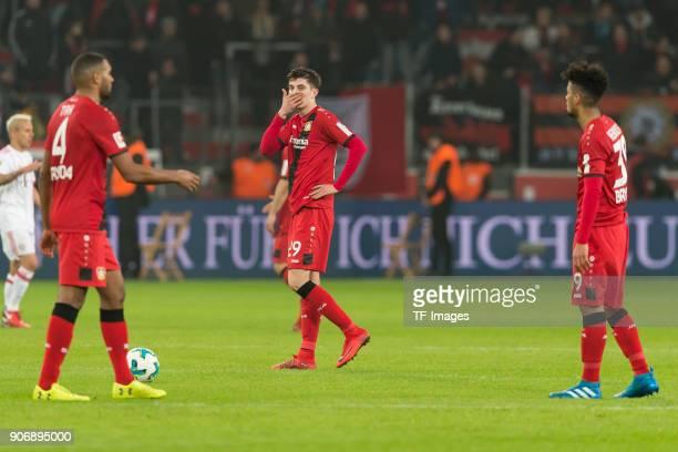 Jonathan Tah of Leverkusen Kai Havertz of Leverkusen and Benjamin Henrichs of Leverkusen look dejected after the Bundesliga match between Bayer 04...