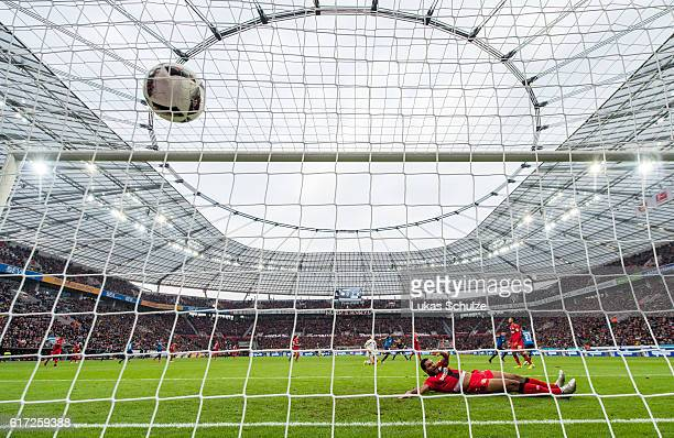 Jonathan Tah of Leverkusen lies on the pitch after the third goal of Hoffenheim during the Bundesliga match between Bayer 04 Leverkusen and TSG 1899...