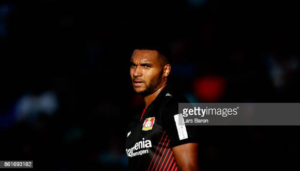 Jonathan Tah of Leverkusen looks on during the Bundesliga match between Bayer 04 Leverkusen and VfL Wolfsburg at BayArena on October 15 2017 in...