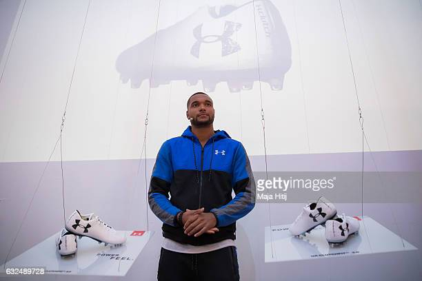 Jonathan Tah of Leverkusen poses with a football shoes during presentation of a new Under Armour ClutchFit 30 on January 23 2017 in Dusseldorf Germany