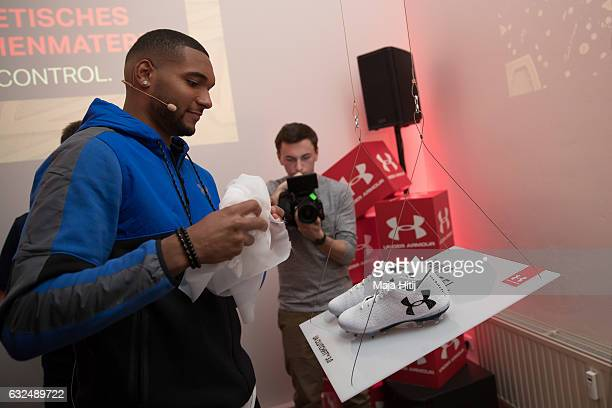 Jonathan Tah of Leverkusen reveals new Under Armour ClutchFit 30 on January 23 2017 in Dusseldorf Germany