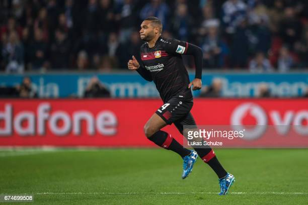 Jonathan Tah of Leverkusen runs during the Bundesliga match between Bayer 04 Leverkusen and FC Schalke 04 at BayArena on April 28 2017 in Leverkusen...