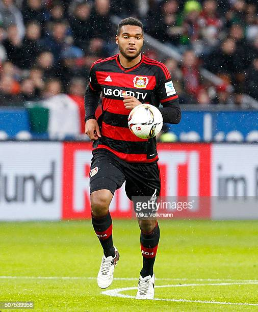 Jonathan Tah of Leverkusen runs with the ball during the Bundesliga match between Bayer Leverkusen and Hannover 96 at BayArena on January 30 2016 in...