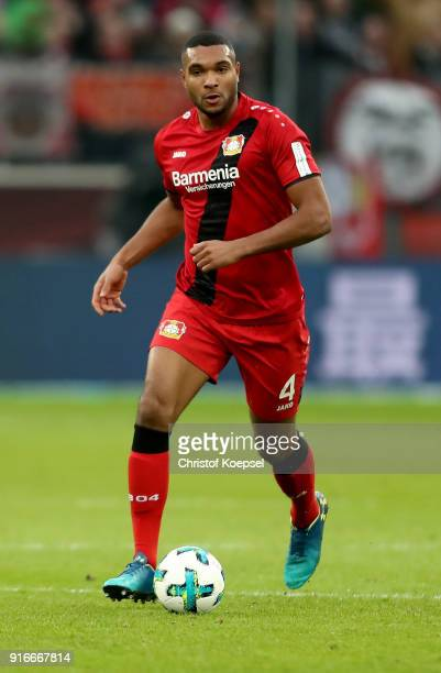 Jonathan Tah of Leverkusen runs with the ball during the Bundesliga match between Bayer 04 Leverkusen and Hertha BSC at BayArena on February 10 2018...