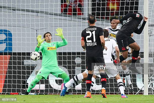 Jonathan Tah of Leverkusen scores his team's first goal past during the Bundesliga match between Bayer 04 Leverkusen and Borussia Moenchengladbach at...