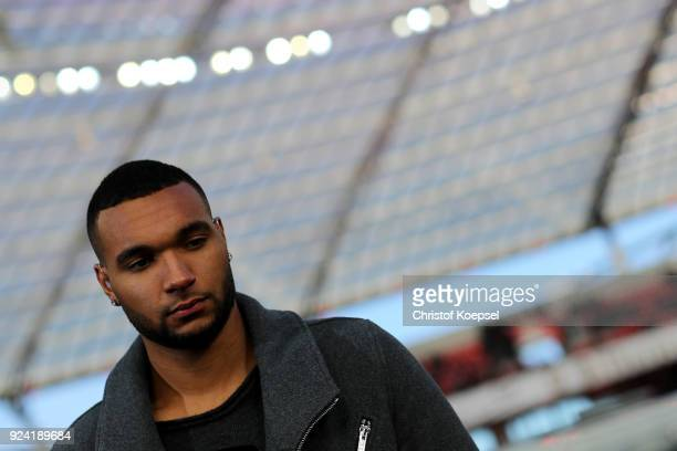 Jonathan Taht of Leverkusen is seen prior to the Bundesliga match between Bayer 04 Leverkusen and FC Schalke 04 at BayArena on February 25 2018 in...