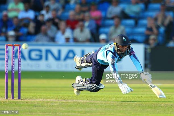 Jonathan Tattersall of Yorkshire Vikings dives in to make his ground during the Royal London One-Day Cup match between Yorkshire Vikings and...