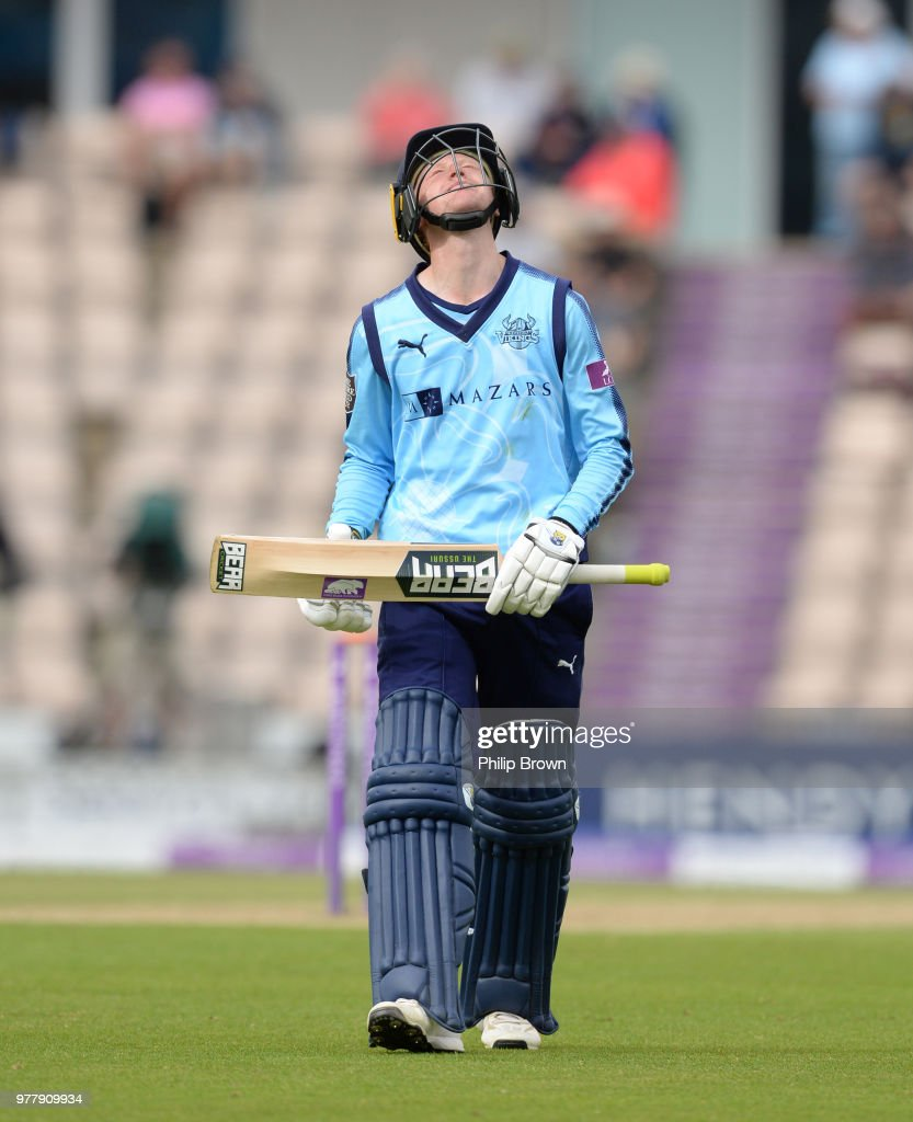 Jonathan Tattersall of Yorkshire Vikings leaves the field after being dismissed during the Royal London One-Day Cup Semi-Final match between Hampshire and Yorkshire Vikings at the Ageas Bowl on June 18, 2018 in Southampton, England.