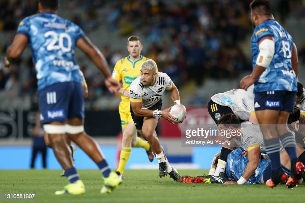 Jonathan Taumateine of the Hurricanes in action during the round 6 Super Rugby Aotearoa match between the Blues and the Hurricanes at Eden Park, on...