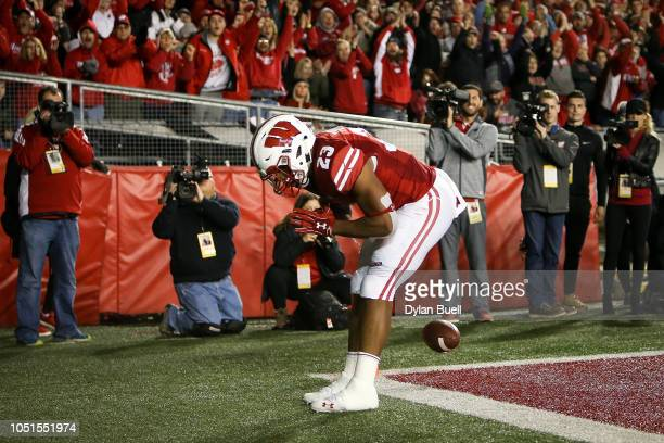 Jonathan Taylor of the Wisconsin Badgers celebrates after scoring a touchdown in the third quarter against the Nebraska Cornhuskers at Camp Randall...