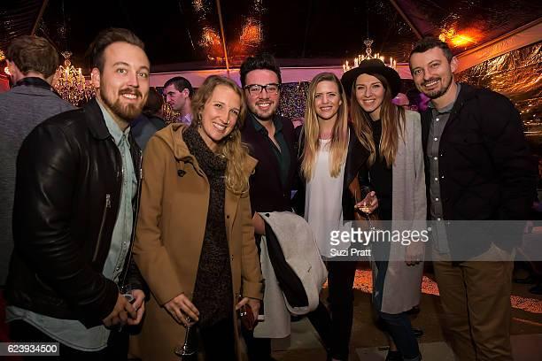 Jonathan Taylor Sweet, Caryn Sweet, Kaleb Willis, a guest, Julia Manchik and Yuriy Manchik pose for a photo at the opening night unveiling of RH...