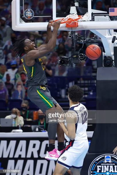 Jonathan Tchamwa Tchatchoua of the Baylor Bears dunks against the Gonzaga Bulldogs in the National Championship game of the 2021 NCAA Men's...