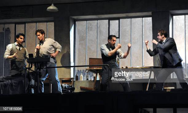 Jonathan Tetelman as Rodolfo Nicholas Lester as Marcello Bozidar Smiljanic as Schaunard and David Soar as Colline in English National Opera's...